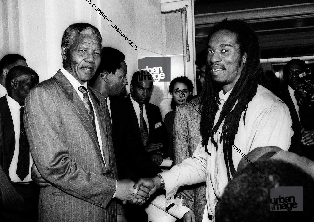 Benjamin Zephaniah meets Nelson Mandela at The South African Embassy - London 1990