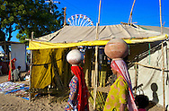 Two Lady Pot Sellers passing by a Bamboo Sticks Shop in Pushkar (Rajasthan), India…