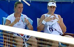 Anastasija Jakimova (BLR) and Ipek Senoglu (TUR) at 2nd Round of Doubles at Banka Koper Slovenia Open WTA Tour tennis tournament, on July 21, 2010 in Portoroz / Portorose, Slovenia. (Photo by Vid Ponikvar / Sportida)