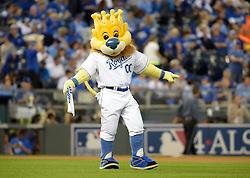 Oct 21, 2014; Kansas City, MO, USA; Kansas City Royals mascot performs before game one of the 2014 World Series against the San Francisco Giants at Kauffman Stadium. Mandatory Credit: Denny Medley-USA TODAY Sports