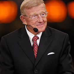 January 4, 2011; New Orleans, LA, USA;  ESPN television analysts Lou Holtz  during halftime of the 2011 Sugar Bowl between the Ohio State Buckeyes and the Arkansas Razorbacks at the Louisiana Superdome.  Mandatory Credit: Derick E. Hingle