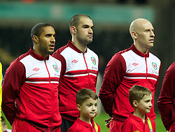 SWANSEA, WALES - Tuesday, March 26, 2013: Wales' captain Ashley Williams, goalkeeper Boaz Myhill and James Collins line up before the 2014 FIFA World Cup Brazil Qualifying Group A match against Croatia at the Liberty Stadium. (Pic by Kieran McManus/Propaganda)