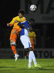 Nathan Blissett of Bristol Rovers challenges for the header with Aaron Pierre of Wycombe Wanderers - Mandatory byline: Dougie Allward/JMP - 07966 386802 - 06/10/2015 - FOOTBALL - Memorial Stadium - Bristol, England - Bristol Rovers v Wycombe Wanderers - JPT Trophy