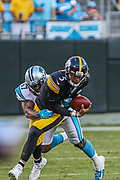 Carolina Panthers linebacker Andre Smith (57) sacks Pittsburgh Steelers quarterback Joshua Dobbs (5)during a NFL football game, Thursday, Aug. 29, 2019, in Charlotte, N.C. The Panthers defeated the Steelers 25-19.  (Brian Villanueva/Image of Sport)