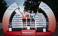 (Middle) Ella Barnwell winner , with runner up (L) Sophie Williams and (R) Elizabeth Catlow  Prudential RideLondon Grand Prix Youth Girls' Race , during Prudential RideLondon,  2015 Saturday 1st August, 2015. <br /> <br /> Prudential RideLondon is the world's greatest festival of cycling, involving 95,000+ cyclists – from Olympic champions to a free family fun ride - riding in five events over closed roads in London and Surrey over the weekend of 1st and 2nd August 2015. <br /> <br /> Photo: Jon Buckle for Prudential RideLondon<br /> <br /> See www.PrudentialRideLondon.co.uk for more.<br /> <br /> For further information: Penny Dain 07799 170433<br /> pennyd@ridelondon.co.uk