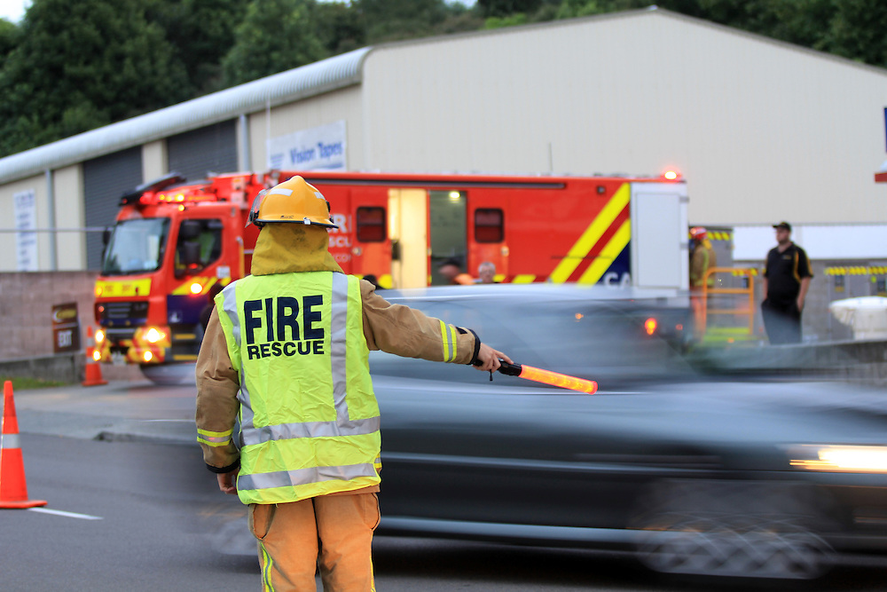 Fire crews responded to a chemical spill in the yard of Mainstream Freight in Greerton, Tauranga,, New Zealand, Thursday, Apirl 03, 2014. Credit:SNPA / Cameron Avery