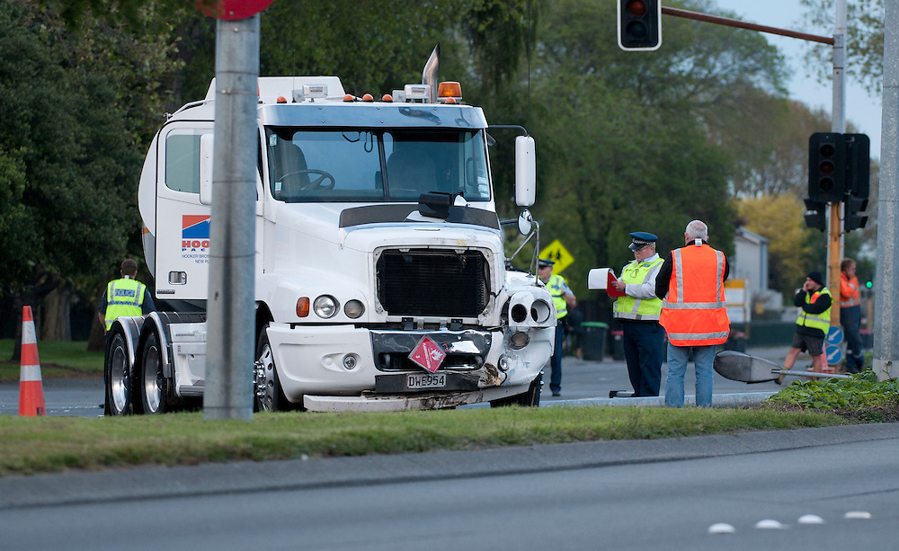 The scene of a crash between a fuel tanker and car at the intersection of Selwyn and Brougham Streets, Christchurch, New Zealand, Tuesday, November 01, 2011. Credit:SNPA / David Alexander
