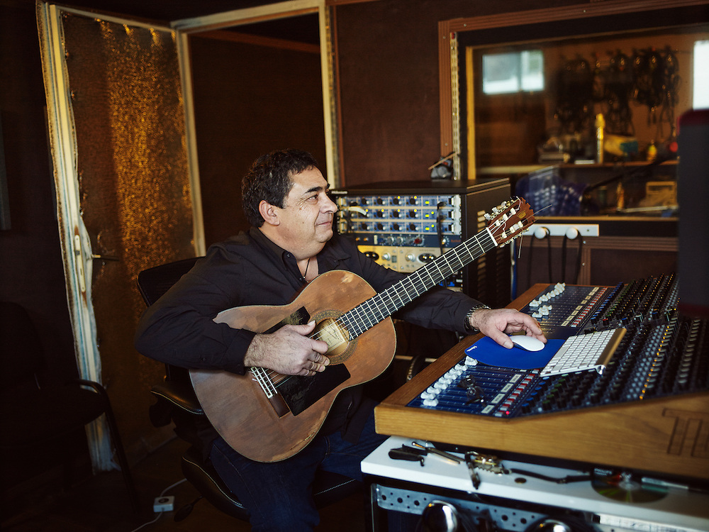 TOULOUSE, FRANCE. DECEMBER 18, 2013. Tonino Baliardo, lead guitarist of the Gipsy Kings, in his home studio. Photo: Antoine Doyen