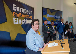 Pictured: New Lib Dem MEP Sheila Ritchie speaks after the declaration with the other five new MEP's in the background.<br /> <br /> Scotland's results in the European elections were announced at the City Chambers in Edinburgh.<br /> <br /> © Dave Johnston / EEm
