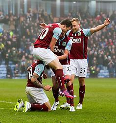 Burnley's Ashley Barnes celebrates after scoring the opening goal - Photo mandatory by-line: Matt McNulty/JMP - Mobile: 07966 386802 - 08/02/2015 - SPORT - Football - Burnley - Turf Moor - Burnley v West Brom - Barclays Premier League