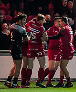 Scarlets' Tom Prydie celebrates scoring his sides first try<br /> <br /> Photographer Simon King/Replay Images<br /> <br /> European Rugby Champions Cup Round 6 - Scarlets v Toulon - Saturday 20th January 2018 - Parc Y Scarlets - Llanelli<br /> <br /> World Copyright © Replay Images . All rights reserved. info@replayimages.co.uk - http://replayimages.co.uk