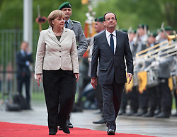 Bildnummer: 57991872..Chancellor Angela Merkel and Franois Grard Georges Nicolas Hollande Visit and Reception with military Honor the French Presidents in Federal Chancellery in Berlin Germany, Tuesday May 15, 2012. Sven Simon/imago/ i-Images