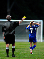 4 JUNE 2011 -- FENTON, Mo. -- Liberty High School soccer player Kaysie Clark (7) is assessed a yellow card warning during the second half of the Jays match with Ursuline Academy during the 2011 MSHSAA Class 3 girls' soccer championship game at the Anheuser-Busch Center in Fenton, Mo. Saturday, June 4, 2011. The Blue Jays defended their state title, beating Ursuline 2-1 in overtime. Photo © copyright 2011 Sid Hastings.