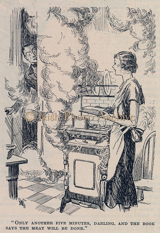 A young middle class wife coping without servants. Cartoon from 'Punch', London, 1932