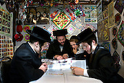 Mr Leibowitz and his 3 sons reading (learning) the Torah inside their sukkah during Sukkot, the feast of Tabernacles. The holiday commemorates the forty-year period during which the children of Israel were wandering in the desert. In honor of the children of Israel in the wilderness, men dwell in temporary shelters. This shelter is called a sukkah it has at least three sides and a partially open roof covered with greenery.