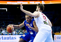 Joakim Noah of France vs Marc Gasol of Spain during final basketball game between National basketball teams of Spain and France at FIBA Europe Eurobasket Lithuania 2011, on September 18, 2011, in Arena Zalgirio, Kaunas, Lithuania. (Photo by Vid Ponikvar / Sportida)