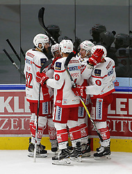 09.10.2016, Merkur Eisarena, Graz, AUT, EBEL, Moser Medical Graz 99ers vs EC KAC, 8. Runde, im Bild Christoph Duller (#52, EC KAC), Mark Popovic (#04, EC KAC), Johannes Bischofberger (#46, EC KAC) und Matthew Neal (#9, EC KAC) // during the Erste Bank Icehockey League 8th Round match between Moser Medical Graz 99ers and EC KAC at the Merkur Ice Arena, Graz, Austria on 2016/10/09, EXPA Pictures © 2016, PhotoCredit: EXPA/ Erwin Scheriau