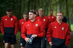 CARDIFF, WALES - Sunday, October 13, 2019: Wales' Regan Poole (L) and Matthew Smith during a pre-match team walk at the Vale Resort ahead of the UEFA Euro 2020 Qualifying Group E match between Wales and Croatia. (Pic by David Rawcliffe/Propaganda)