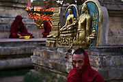 Tibetan monks at prayer during Losar, at Mahabodhi Temple, home of the Banyan Tree under which the Lord Buddha received enlightenment, Bodh Gaya.