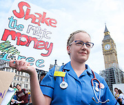 Royal College of Nursing union stages protest<br /> in Parliament Square, London, Great Britain <br /> 6th September 2017 <br /> <br /> <br /> <br /> Royal College of Nursing's campaign for the Government to scrap the 1 per cent cap on public sector pay.<br /> <br /> <br /> Charlotte <br /> Nurse from Northern Devon Healthcare <br /> <br /> Photograph by Elliott Franks <br /> Image licensed to Elliott Franks Photography Services