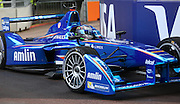 Salvador Duran just missing the wall during practice during the FIA Formula E Visa London ePrix  at Battersea Park, London, United Kingdom on 28 June 2015. Photo by Matthew Redman.