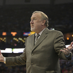 Jan 02, 2010; New Orleans, LA, USA; Houston Rockets head coach Rick Adelman reacts to an officials call during the third quarter against the New Orleans Hornets at the New Orleans Arena. Mandatory Credit: Derick E. Hingle-US PRESSWIRE