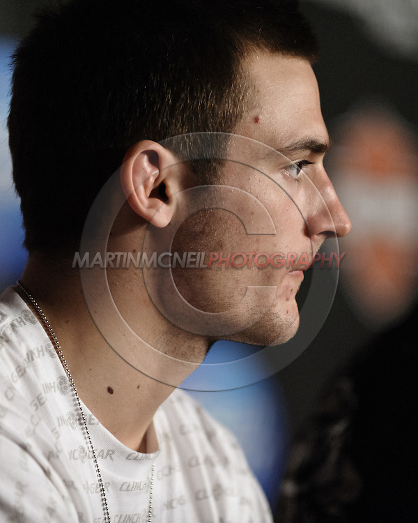 "MANCHESTER, ENGLAND, NOVEMBER 14, 2009: Nick Osipczak is pictured during the post-fight press conference for ""UFC 105: Couture vs. Vera"" inside the MEN Arena in Manchester, England"