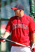 ANAHEIM, CA - JULY 28:  Mike Trout #27 of the Los Angeles Angels of Anaheim takes batting practice before the game against the Tampa Bay Rays on Saturday, July 28, 2012 at Angel Stadium in Anaheim, California. The Rays won the game in a 3-0 shutout. (Photo by Paul Spinelli/MLB Photos via Getty Images) *** Local Caption *** Mike Trout