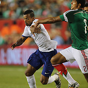 Nani, Portugal, is challenged by Francisco Rodríguez, Mexico, during the Portugal V Mexico International Friendly match in preparation for the 2014 FIFA World Cup in Brazil. Gillette Stadium, Boston (Foxborough), Massachusetts, USA. 6th June 2014. Photo Tim Clayton