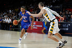 13.09.2014, City Arena, Madrid, ESP, FIBA WM, Frankreich und Litauen, Entscheidungsspiel zwischen Platz 3 und 4, im Bild France´s Batum (L) and Lithuania´s Motiejunas // during FIBA Basketball World Cup Spain 2014 playoff match place 3 and 4 between France and Lithuania at the City Arena in Madrid, Spain on 2014/09/13. EXPA Pictures © 2014, PhotoCredit: EXPA/ Alterphotos/ Victor Blanco<br /> <br /> *****ATTENTION - OUT of ESP, SUI*****