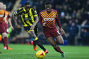 Bradford City defender Greg Leigh wins the ball during the Sky Bet League 1 match between Burton Albion and Bradford City at the Pirelli Stadium, Burton upon Trent, England on 6 February 2016. Photo by Aaron Lupton.
