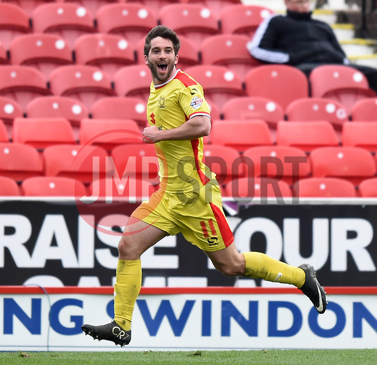 Milton Keynes Dons' Will Grigg celebrates his goal - Photo mandatory by-line: Paul Knight/JMP - Mobile: 07966 386802 - 04/04/2015 - SPORT - Football - Swindon - The County Ground - Swindon Town v Milton Keynes Dons - Sky Bet League One