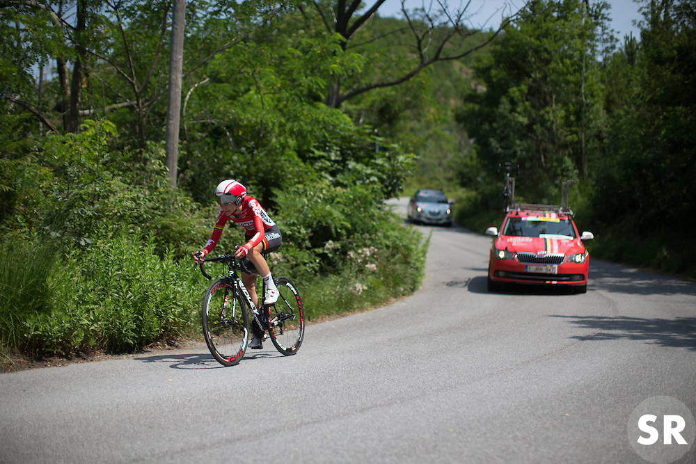 Claudia Lichtenberg (GER) of Lotto Soudal Cycling Team starts the final descent during the Giro Rosa 2016 - Stage 7. A 21.9 km individual time trial from Albisola to Varazze, Italy on July 8th 2016.
