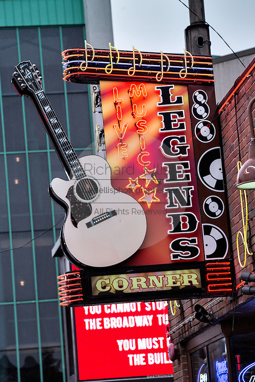 Sign for Legends Corner honky-tonk on lower Broadway in Nashville, TN.