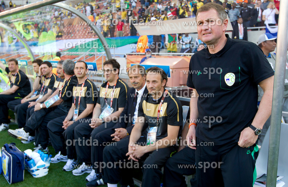 Head coach Matjaz Kek (R) of Slovenia during the Group C first round 2010 FIFA World Cup South Africa match between Algeria and Slovenia at Peter Mokaba Stadium on June 13, 2010 in Polokwane, South Africa.  Slovenia defeated Aleria 1-0. (Photo by Vid Ponikvar / Sportida)
