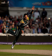 Shahid Afridi bowls during the ICC World Twenty20 Cup semi-final between South Africa and Pakistan at Trent Bridge. Photo © Graham Morris (Tel: +44(0)20 8969 4192 Email: sales@cricketpix.com)