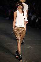 Freja Beha Erichsen walks the runway wearing Alexander Wang Spring 2010 collection during Mercedes-Benz Fashion Week in New York, NY on September 11, 2009