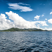 A view of St John in the US Virgin Islands as seen from halfway to St Thomas.
