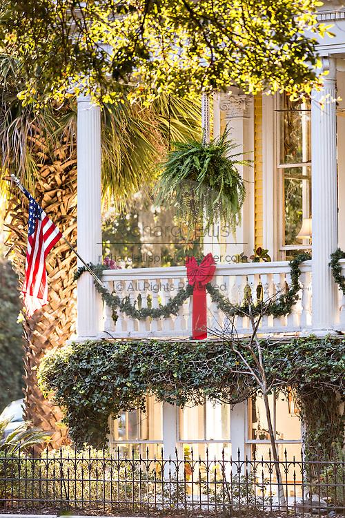 Christmas decorations on a home in historic Savannah, GA.