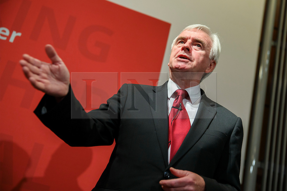 © Licensed to London News Pictures. 27/10/2016. London, UK. Shadow chancellor JOHN MCDONNELL gives a speech on Labour's post-Brexit economic plans at The Institute of Mechanical Engineers in London on Thursday, 27 October 2016. Photo credit: Tolga Akmen/LNP