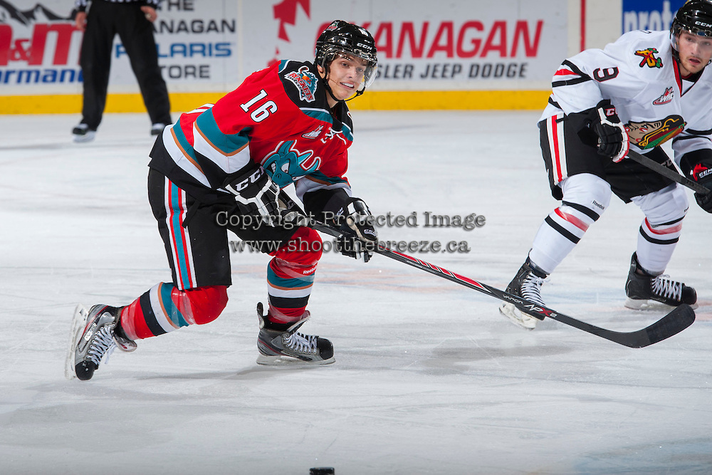 KELOWNA, CANADA - OCTOBER 5:  Kris Schmidli#16 of the Kelowna Rockets skates on the ice against the Portland Winterhawks  at the Kelowna Rockets on October 5, 2013 at Prospera Place in Kelowna, British Columbia, Canada (Photo by Marissa Baecker/Shoot the Breeze) *** Local Caption ***