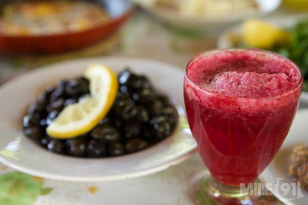 Fresh juice on the table at morning breakfast, Turkey.