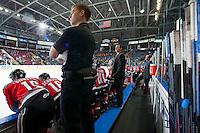 KELOWNA, CANADA - DECEMBER 6: Dan Lambert, head coach of the Kelowna Rockets stands on the bench against the Prince Albert Raiders on December 6, 2014 at Prospera Place in Kelowna, British Columbia, Canada.  (Photo by Marissa Baecker/Shoot the Breeze)  *** Local Caption *** Dan Lambert;