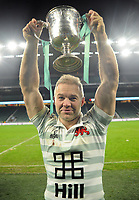 Rugby Union - 2017 Varsity Match - Oxford University vs. Cambridge University<br /> <br /> Ollie Phillips of Cambridge at 35 ( Ex Sale, Newcastle and Gloucester player),with the trophy after missing out last year through injury at Twickenham.<br /> <br /> COLORSPORT/ANDREW COWIE