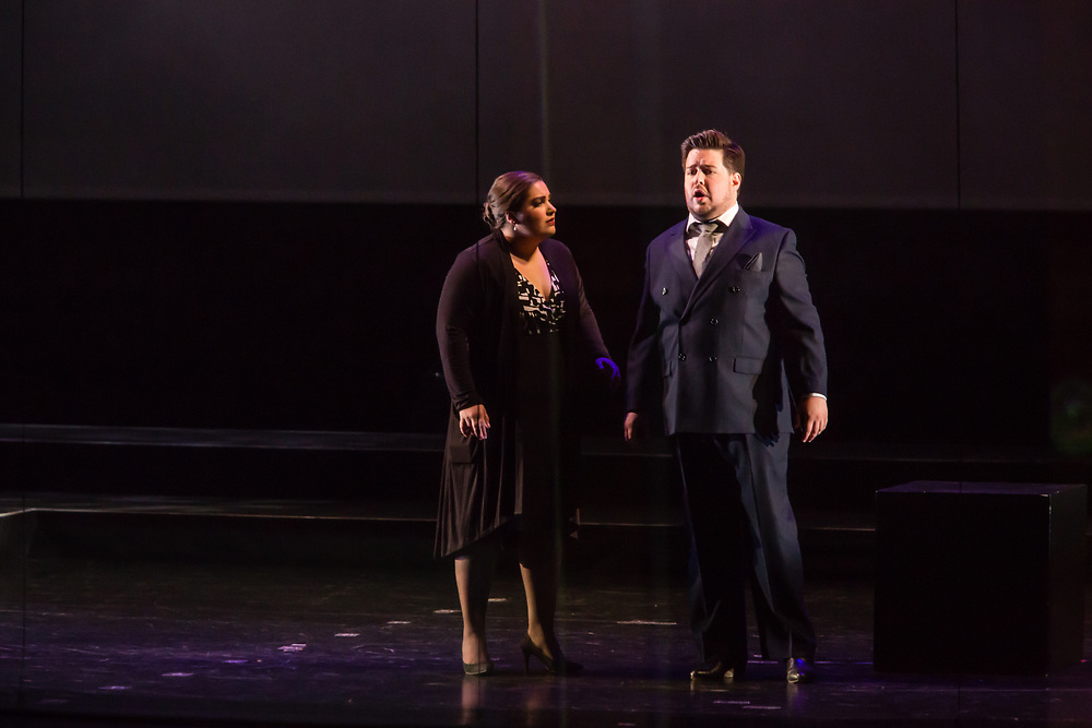 Liz Lang as Annina and Rafael Porto as Dr Grenvil in Verdi'a La Traviata in the Philharmonia Orchestra's production at the Rose Theater at Jazz at Lincoln Center.