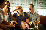 Holland America San Deigo to Vancouver BC. April 2017. Casino and Beverage Advertising Photography on board in cocktail lounge at happy hour with friends over drinks.