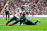 Houston Texans Quarterback Deshaun Watson (4) slide for a first down during the International Series match between Jacksonville Jaguars and Houston Texans at Wembley Stadium, London, England on 3 November 2019.