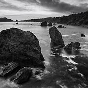 Seastacks At Sunset - Trinidad Bay, CA - Black & White