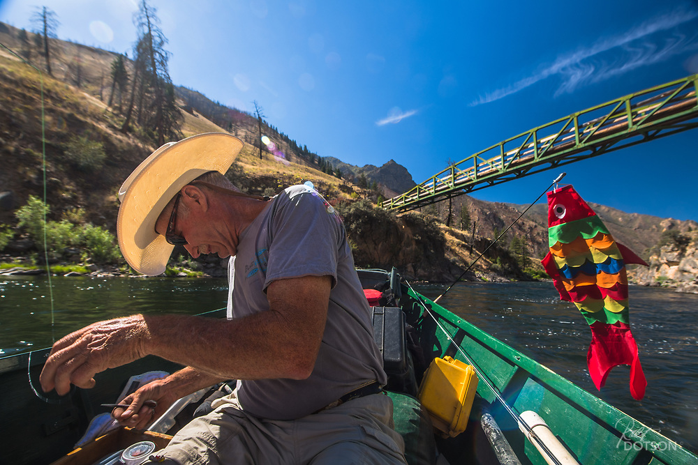 Steve xxx out of Oregon has been running the Middle Fork of the Salmon longer than virtually anyone. While he only does a few trips a season, he kept his newly acquired kite fish mascot trailing for five days and it brought good mojo to anyone lucky enough to fish out of his vessel.