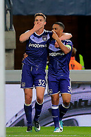 Leander Dendoncker midfielder of RSC Anderlecht celebrates scoring the equalising goal pictured during  UEFA Europa League quarter final first leg match between Rsc Anderlecht and Manchester United 13/04/2017. <br /> Norway only